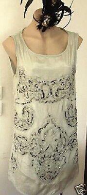 Zara Vintage Perlen Wulstig Paillette Grün 20s Flapper Tunika Kleid GRÖSSE M 10