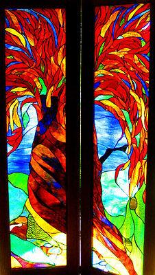 'RED CEDAR TREE' Australian Stained Glass Leadlight ART FRENCH DOORS CUSTOM MADE