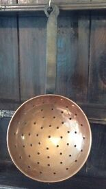 Lovely vintage copper straining spoon very good condition