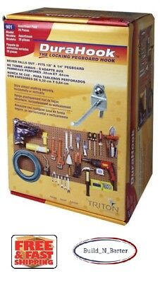 Locking Pegboard Hook - DuraHook Locking Pegboard System 26 Piece Kit Hook & Bin Wall Storage Orga..