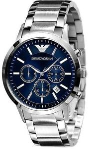 New EMPORIO ARMANI Mens Blue Chronograph Watch AR2448