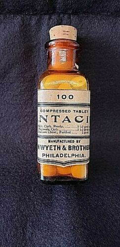 RARE VINTAGE JOHN WYETH & BROTHERS  PHARMACEUTICAL BOTTLE (ANTACID)