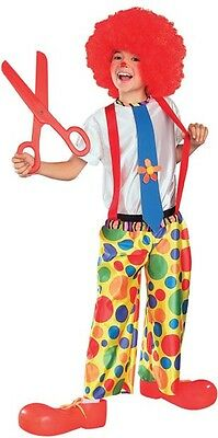 Child Clown Costume Unisex Bright Colors Boys Girls Childrens Rodeo Jester Kids (Clown Costumes For Boys)