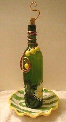 Handcraft Wine Bottle Birds Feeder Ceramic Base Copper Sunflower Artist Signed
