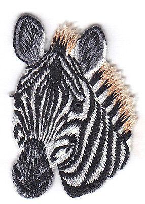 Wild Zebra (ZEBRA HEAD -  JUNGLE - ZOO ANIMAL - IRON ON EMBROIDERED PATCH - WILD)