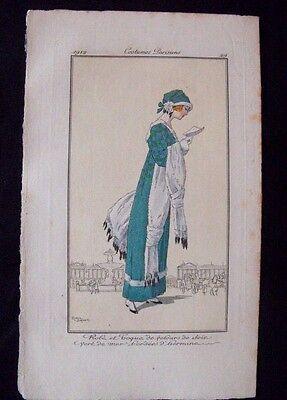 Roger Broders  Costumes Parisiens 1912 Robe velours de soie et hermine Pl. - Hermine Costume