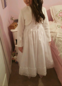 Size 10/12 white flower girl, first communion or holiday dress