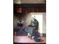 DUTCH SCHOOL - original oil on canvas antique painting - late 19th Century (original frame)