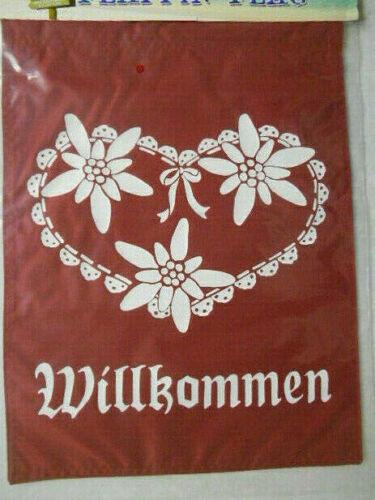 """Willkommen Edelweiss Flower 12""""x 18"""" Two Sided 200denier Sleeved Banner Flag USA"""