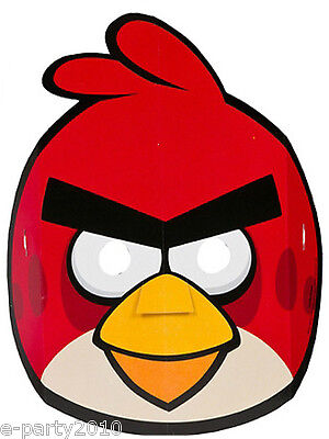 ANGRY BIRDS PAPER MASKS (8) ~  Birthday Party Supplies Favors Costume Game Red](Angry Birds Party Supplies)