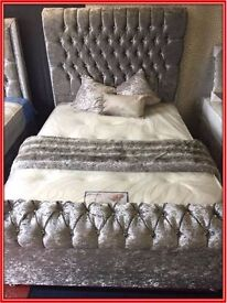 Quality Luxury Crush Silk Cube Velvet Double Bed & Mattress