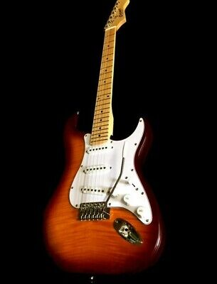 new strat 6 string flame maple sunburst