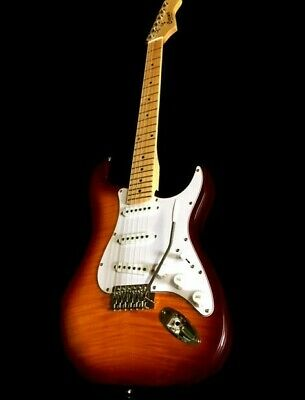 NEW 6 STRING FLAME MAPLE SOLID ASH BODY ELECTRIC SUNBURST GU