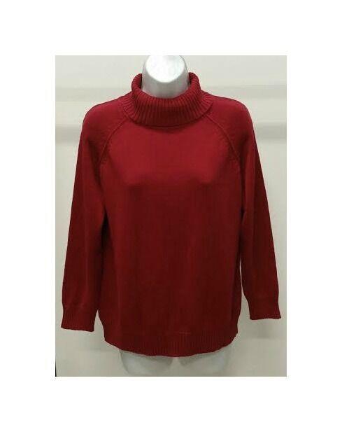Karen Scott Women's Red AMORE Solid 100 Cotton Turtleneck Sweater ...