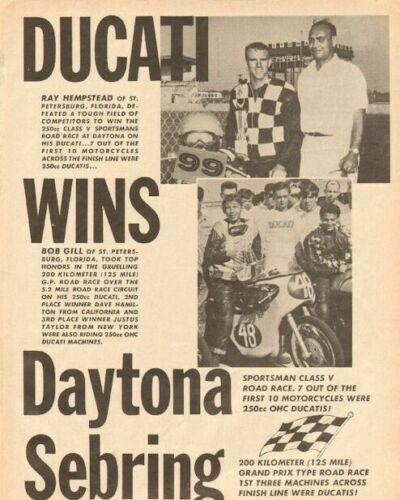 1964 Ducati Wins Daytona Sebring Vintage Motorcycle Ad
