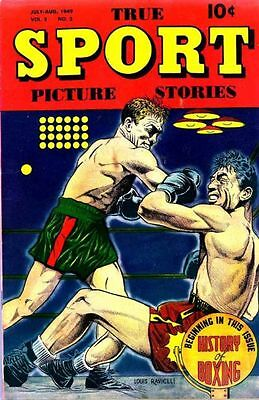 "TRUE SPORT PICTURE STORIES V5#2 G, 1/2"" tear BC, Street & Smith Comics 1949"