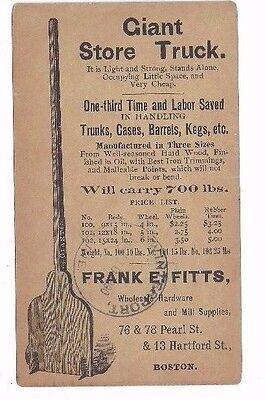 1890, Boston Ma, Pioneer Post Karte , Werbung Frank E Fitts Store Lkw