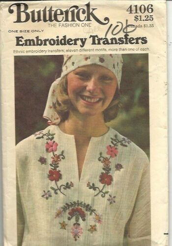 Butterick 4106 Embroidery Transfers Pattern/1970s
