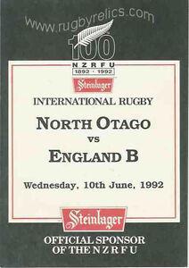 NORTH-OTAGO-v-ENGLAND-B-10th-June-1992-RUGBY-PROGRAMME