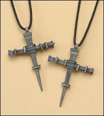 Nail Cross Pendant on Cord Necklace NEW Carded Lent Easter Item Christian Faith