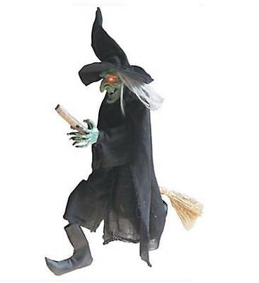 Flying Witch On Her Broomstick w/ Lighted Eyes & Eerie Laugh 40