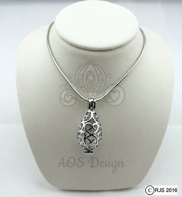 Pick A Pearl Cage Silver Plated Teardrop Heart Love XOXO Scrollwork Necklace