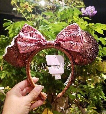 Disney Mickey Mouse Ice Cream Bar Brown Sequin Pink Bow Minnie Ears Headband