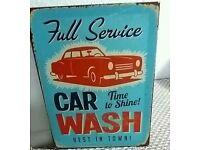 Retro Car Wash canvas picture