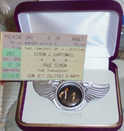 SIMON & GARFUNKEL Concert Badge Pin Singer Song Water Child Silence Boxer Town I