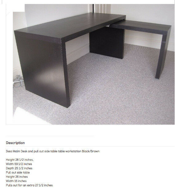 Ikea Malm Extendable Office Desk