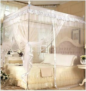 White Princess 4 Poster Bed Canopy Mosquito Net Bed Single