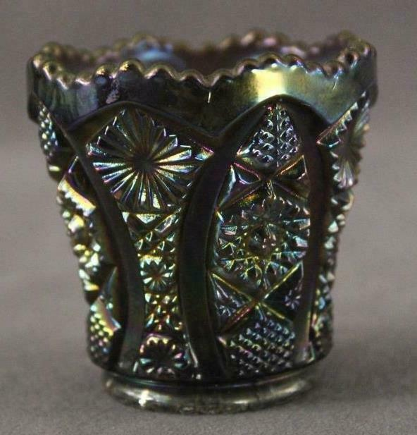 Vintage IMPERIAL GLASS Carnival Daisy Button Peacock Iridized Toothpick Holder