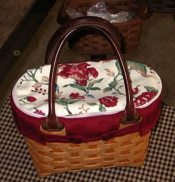 Longaberger Large Boardwalk Basket fabric LINER ONLY - Pretty RED FLORAL - Nice