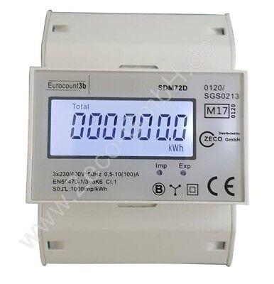 LCD Drehstromzähler Stromzähler MID geeicht mit So für Hutschiene 100A