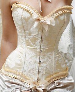 Sexy-Ladies-Ivory-Victorian-Satin-Boned-Vintage-Corset-S-XL-65