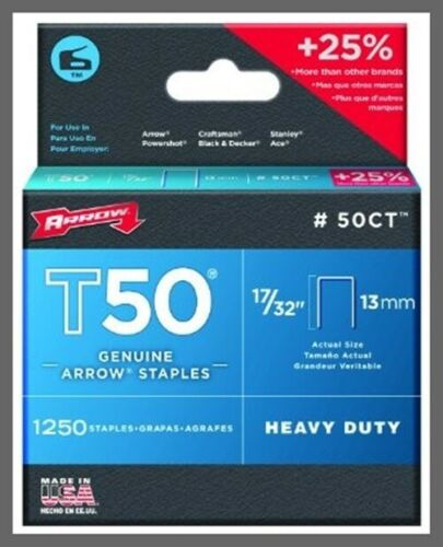 "Arrow Fastener 50CT™ T50® Staples - 17/32"" (13mm) - Steel - 1250/Pack"