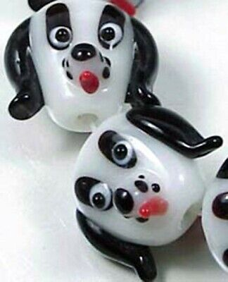 5 Lampwork Handmade White Black Dogs Head Beads -