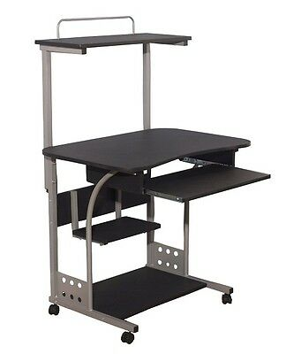 Rolling Mobile Computer Desk Black Pc Portable Small Dorm Room Office Compact