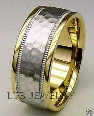 TWO TONE GOLD MENS WEDDING BANDS RINGS, MILGRAIN HAMMERED FINISH -