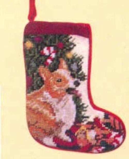 Needlepoint WELSH CORGI RED Dog Breed Small Christmas Holiday Stocking RETIRED
