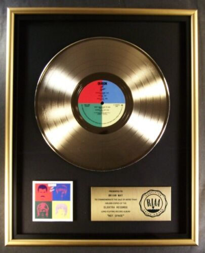 Queen Hot Space LP Gold RIAA Record Award Elektra Records To Brian May