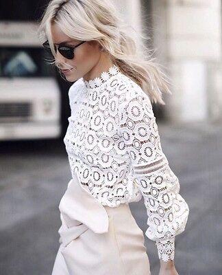 White Portrait Lace Blouse  In Stock Miami  Us 0 2 4 6 S M L Self  Fast Delivery