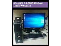 COMPUTER PC DELL CORE 2, 2.7GHZ, 4GB RAM, 160GB, WIN10, TFT MONITOR