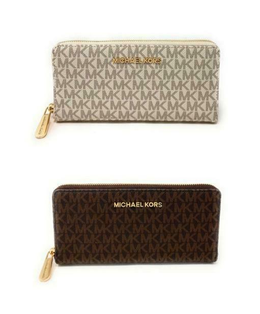 Michael Kors Jet Set Item Large Zip Around Continental Wallet Signature Clothing, Shoes & Accessories