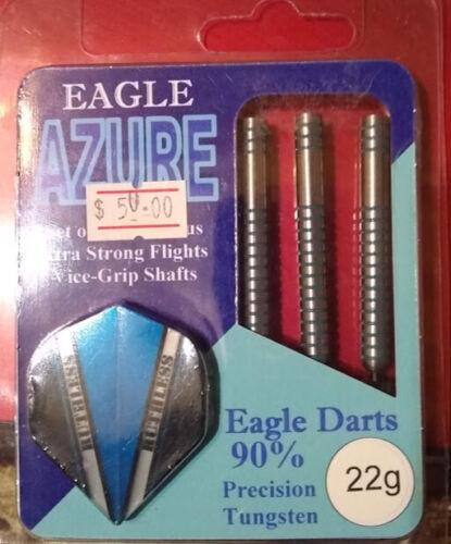 EAGLE AZURE BLUE STRIPE STEEL TIP DARTS 22 GRAM  90% PRECISION TUNGSTEN
