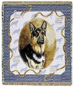 German Shepherd Tapestry Throw  Blanket Afghan Made In USA