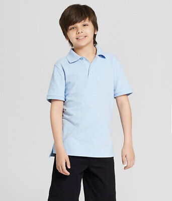 BOYS SHORT SLEEVE PIQUE SCHOOL UNIFORM POLO SHIRT M WINDY BLUE CAT & JACK NEW!