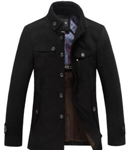 01 Style Men's Wool Long Trench Jacket Outwear Coat , Black Color Men's Jacket