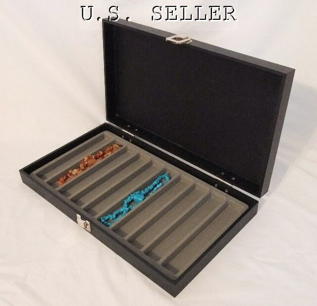 10 Slot Necklace/Bracelet Traveling Display Case Gray