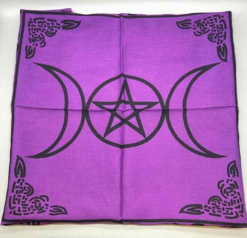 """Triple Moon Pentagram altar cloth 18""""x18"""" Wiccan Witchcraft Supply Store"""